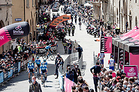 """at the race start in Perugia<br /> <br /> 104th Giro d'Italia 2021 (2.UWT)<br /> Stage 11 from Perugia to Montalcino (162km)<br /> """"the Strade Bianche stage""""<br /> <br /> ©kramon"""