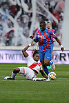 Rayo Vallecano´s Manucho and Levante UD´s Papakouli Diop during 2014-15 La Liga match between Rayo Vallecano and Levante UD at Vallecas stadium in Madrid, Spain. February 28, 2015. (ALTERPHOTOS/Luis Fernandez)