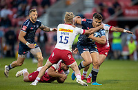 4th June 2021; AJ Bell Stadium, Salford, Lancashire, England; English Premiership Rugby, Sale Sharks versus Harlequins; Rohan Janse van Rensburg of Sale Sharks is tackled by Tyrone Green of Harlequins