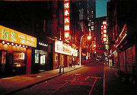 Chinatown street at night, New York City July, 1997. New York City NY USA China Town, Manhattan.