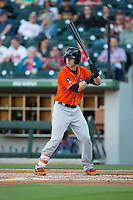 Chance Sisco (23) of the Norfolk Tides at bat against the Charlotte Knights at BB&T BallPark on May 2, 2017 in Charlotte, North Carolina.  The Knights defeated the Tides 8-3.  (Brian Westerholt/Four Seam Images)