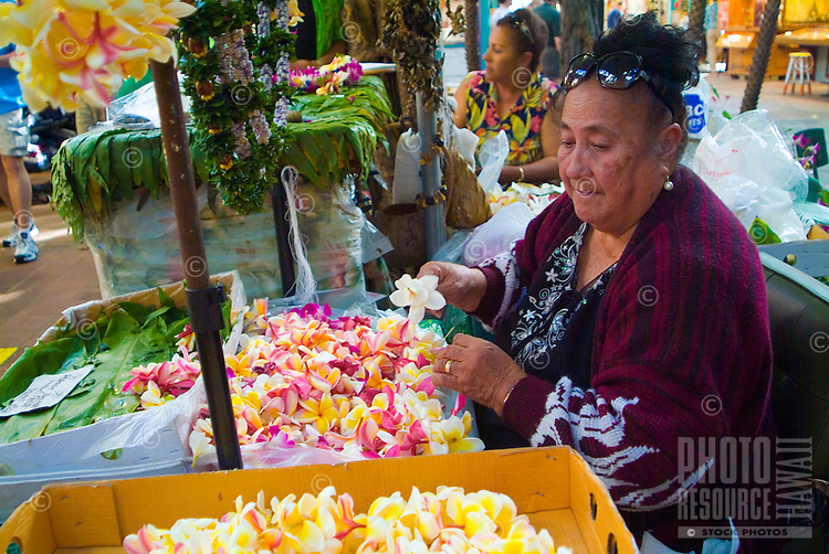 A leimaker at the International Market Place in Waikiki.