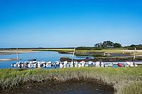 Motor boats docked at Gray's Beach, Yarmouth Port, Cape Cod, Massachusetts, USA
