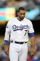 James Loney #7 of the Los Angeles Dodgers during a game against the Philadelphia Phillies at Dodger Stadium on July 16, 2012 in Los Angeles, California. Philadelphia defeated Los Angeles 3-2. (Larry Goren/Four Seam Images)