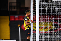 20th March 2021; Vicarage Road, Watford, Hertfordshire, England; English Football League Championship Football, Watford versus Birmingham City; Adam Massina cannot quite believe how he has missed a glorious scoring chance for the Hornets.