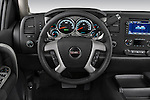 Steering wheel view of a 2009 GMC Sierra Hybrid