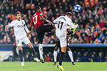 Fred Rodrigues of Manchester United (C) trips up with Denis Cheryshev of Valencia CF (R) during the UEFA Champions League 2018-19 match between Valencia CF and Manchester United at Estadio de Mestalla on December 12 2018 in Valencia, Spain. Photo by Maria Jose Segovia Carmona / Power Sport Images
