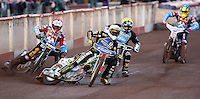 Heat 1: Niels-Kristian Iversen (white), Peter Karlsson (red), Richie Worrall (yellow) and Kim Nilsson (blue) - Lakeside Hammers vs Kings Lynn Stars, Elite League Speedway at the Arena Essex Raceway, Pufleet - 23/04/13 - MANDATORY CREDIT: Rob Newell/TGSPHOTO - Self billing applies where appropriate - 0845 094 6026 - contact@tgsphoto.co.uk - NO UNPAID USE.