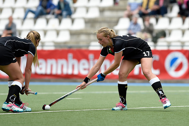 GER - Mannheim, Germany, May 25: During the U16 Girls match between The Netherlands (orange) and Germany (black) during the international witsun tournament on May 25, 2015 at Mannheimer HC in Mannheim, Germany. Final score 1-1 (1-0). (Photo by Dirk Markgraf / www.265-images.com) *** Local caption *** Selina Danger #15 of Germany, Emily Kerner #17 of Germany