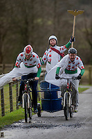 Saturday 10 January 2015<br /> Pictured: Competitiors make their way around the 1km course<br /> Re: The World Mountain Bike Chariot Racing Championships take place at LLanwrtyd Wells, Wales, UK