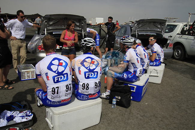 FDJ-BigMat Team riders relax before the start of Stage 4 of the 2012 Tour of Qatar from Al Thakhira to Madinat Al Shamal, Qatar. 8th February 2012.<br /> (Photo Eoin Clarke/Newsfile)