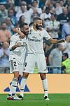 Real Madrid's Dani Carvajal (L) and Karim Benzema (R) celebrate goal during La Liga match. September 01, 2018. (ALTERPHOTOS/A. Perez Meca)