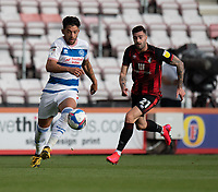 Queens Park Rangers' MacAuley Bonne (left) under pressure from Bournemouth's Diego Rico (right) <br /> <br /> Photographer David Horton/CameraSport<br /> <br /> The EFL Sky Bet Championship - Bournemouth v Queens Park Rangers - Saturday 17th October 2020 - Vitality Stadium - Bournemouth<br /> <br /> World Copyright © 2020 CameraSport. All rights reserved. 43 Linden Ave. Countesthorpe. Leicester. England. LE8 5PG - Tel: +44 (0) 116 277 4147 - admin@camerasport.com - www.camerasport.com