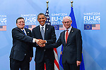 José Manuel Barroso, President of the European Commission, left, shake hands with The United States President Barack Obama and Herman Van Rompuy, President of the European Council prior a meeting of the EU-US Summit in Council of Europe, in Brussels, Wednesday 26, March 2014.<br /> This is the first visit for President Barack Obama to the European Institutions in Brussels. Photo by Delmi Alvarez