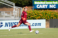 CARY, NC - SEPTEMBER 12: Casey Murphy distributes the ball during a game between Portland Thorns FC and North Carolina Courage at Sahlen's Stadium at WakeMed Soccer Park on September 12, 2021 in Cary, North Carolina.
