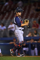 Brooklyn Cyclones catcher Brandon Brosher (18) during the second game of a doubleheader against the Connecticut Tigers on September 2, 2015 at Senator Thomas J. Dodd Memorial Stadium in Norwich, Connecticut.  Connecticut defeated Brooklyn 2-1.  (Mike Janes/Four Seam Images)