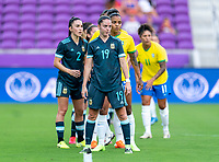 ORLANDO, FL - FEBRUARY 18: Mariana Larroquette #19 of Argentina looks to the ball during a game between Argentina and Brazil at Exploria Stadium on February 18, 2021 in Orlando, Florida.