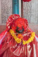 Kathmandu, Nepal.  Statue Representing the Hindu God Hanuman, the Monkey God, in a Neighborhood Temple.