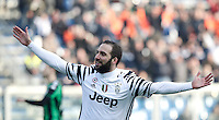 Calcio, Serie A: Sassuolo vs Juventus. Reggio Emilia, Mapei Stadium, 29 gennaio 2017. <br /> Juventus' Gonzalo Higuain celebrates after scoring during the Italian Serie A football match between Sassuolo and Juventus at Reggio Emilia's Mapei stadium, 29 January 2017<br /> UPDATE IMAGES PRESS/Isabella Bonotto