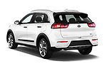 Car pictures of rear three quarter view of 2017 KIA Niro Sense 5 Door SUV Angular Rear