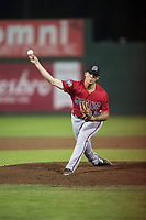 Billings Mustangs relief pitcher Ryan Campbell (28) delivers a pitch during a Pioneer League game against the Idaho Falls Chukars at Melaleuca Field on August 22, 2018 in Idaho Falls, Idaho. The Idaho Falls Chukars defeated the Billings Mustangs by a score of 5-3. (Zachary Lucy/Four Seam Images)