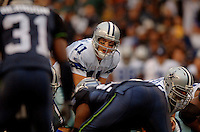 Oct 23, 2005; Seattle, Wash, USA;  Dallas Cowboys quarterback #11 Drew Bledsoe calls a play against the Seattle Seahawks in the fourth quarter at Qwest Field. Mandatory Credit: Photo By Mark J. Rebilas
