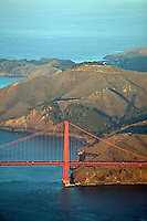 aerial photograph Golden Gate bridge, Marin headlands, San Francisco, California