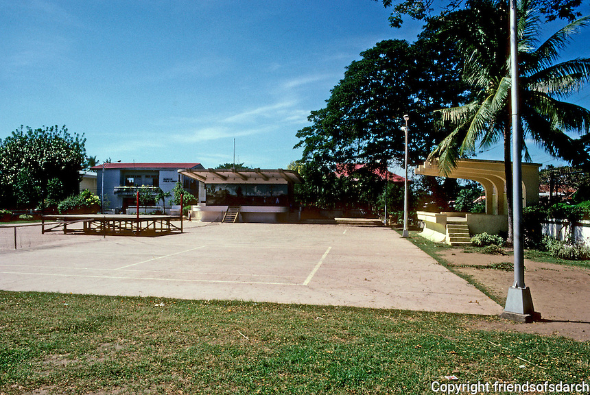 Philippines: Agoo, La Union Province--Bandstand, Tennis courts, Marcos Library in back. Photo '82.