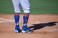 A Scottsdale Scorpion and New York Mets player wears Stitch brand socks depicting the New York City skyline during an Arizona Fall League game against the Surprise Saguaros on October 27, 2017 at Scottsdale Stadium in Scottsdale, Arizona. The Scorpions defeated the Saguaros 6-5. (Zachary Lucy/Four Seam Images)