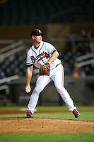 Salt River Rafters pitcher Evan Phillips (43), of the Atlanta Braves organization, during a game against the Surprise Saguaros on October 21, 2016 at Salt River Fields at Talking Stick in Scottsdale, Arizona.  Salt River defeated Surprise 3-2.  (Mike Janes/Four Seam Images)