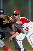 Ohio State Buckeyes first baseman Ryan Leffel (12) during a game against the Illinois State Redbirds on March 5, 2016 at North Charlotte Regional Park in Port Charlotte, Florida.  Illinois State defeated Ohio State 5-4.  (Mike Janes/Four Seam Images)