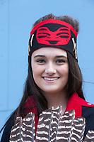 Portrait of beautiful Native American woman, Tlingit Tribe of Southeast Alaska, Northwest Folklife Festival 2016, Seattle Center, WA, USA.