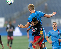 FOXBOROUGH, MA - SEPTEMBER 02: Keaton Parks #55 of New York City FC and Gustavo Bou #7 of New England Revolution battle for head ball during a game between New York City FC and New England Revolution at Gillette Stadium on September 02, 2020 in Foxborough, Massachusetts.