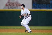 Josh Altmann (21) of the Hickory Crawdads takes his lead off of second base against the Rome Braves at L.P. Frans Stadium on May 12, 2016 in Hickory, North Carolina.  The Braves defeated the Crawdads 3-0.  (Brian Westerholt/Four Seam Images)