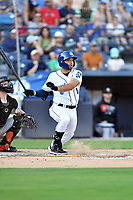 Asheville Tourists Cesar Salazar (11) swings at a pitch during a game against the Aberdeen IronBirds on June 15, 2021 at McCormick Field in Asheville, NC. (Tony Farlow/Four Seam Images)