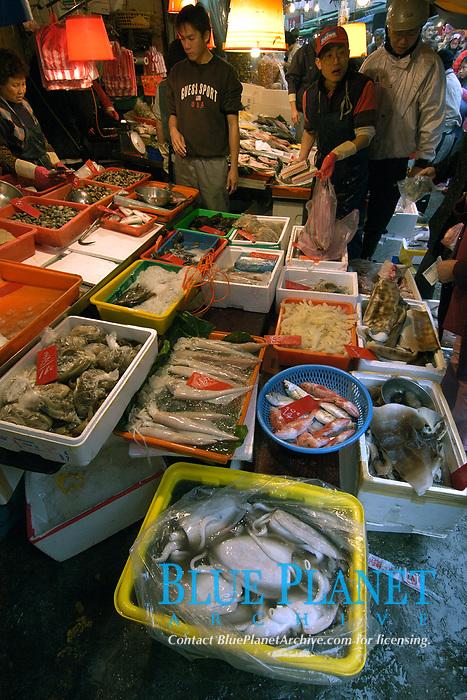 Fresh seafood market in Danshui suburb, Taipei, Taiwan Republic of China