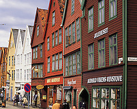 The old merchants' houses on Bryggen in the centre of Bergen, Norway