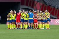 TOKYO, JAPAN - JULY 21: Sweden huddles after a game between Sweden and USWNT at Tokyo Stadium on July 21, 2021 in Tokyo, Japan.