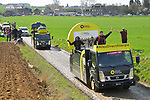 The publicity caravan ahead of the race on one of the wetter cobbled sectors before the 116th edition of Paris-Roubaix 2018. 8th April 2018.<br /> Picture: ASO/Bruno Bade | Cyclefile<br /> <br /> <br /> All photos usage must carry mandatory copyright credit (© Cyclefile | ASO/Bruno Bade)