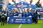 Livingston v St Johnstone …28.02.21   Hampden   BetFred Cup Final<br />Jason Kerr and team mates celebrate after winning the BETFRED Cup<br />Picture by Graeme Hart.<br />Copyright Perthshire Picture Agency<br />Tel: 01738 623350  Mobile: 07990 594431