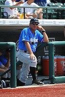 Hudson Valley Renegades manager Tim Parenton (31) during game 1 of a double header against the Brooklyn Cyclones at MCU Park on July 8, 2014 in Brooklyn, NY.  Brooklyn defeated Hudson Valley 3-0.  (Tomasso DeRosa/Four Seam Images)