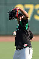 Dayton Dragons pitcher Doug Salinas during a game vs. the Great Lakes Loons at Dow Diamond in Midland, Michigan August 19, 2010.   Great Lakes defeated Dayton 1-0.  Photo By Mike Janes/Four Seam Images