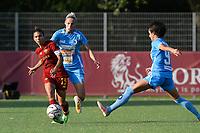 4th September 2021; Agostino di Bartolomei Stadium, Rome, Italy; Serie A womens championship football, AS Roma versus Napoli ; Elisa Bartoli of AS Roma shoots past Kaja Erzen of Napoli