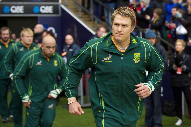 Jean de Villiers of South Africa leads his team out before the QBE Autumn International match between England and South Africa at Twickenham on Saturday 24 November 2012 (Photo by Rob Munro)
