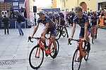 Nippo-Vini Fantini-Europa Ovini at sign on before the start of the 99th edition of Milan-Turin 2018, running 200km from Magenta Milan to Superga Basilica Turin, Italy. 10th October 2018.<br /> Picture: Eoin Clarke | Cyclefile<br /> <br /> <br /> All photos usage must carry mandatory copyright credit (© Cyclefile | Eoin Clarke)