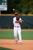 Indiana Hoosiers shortstop Jeremy Houston (1) during warmups before a game against the Rutgers Scarlet Knights on February 23, 2018 at North Charlotte Regional Park in Port Charlotte, Florida.  Indiana defeated Rutgers 7-6.  (Mike Janes/Four Seam Images)