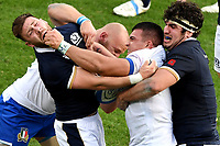 Ali Price of Scotland , Leonardo Ghiraldini of Italy , Danilo Fischetti of Italy and Stuart McInally of Scotland compete for the ball during the rugby Autumn Nations Cup's match between Italy and Scotland at Stadio Artemio Franchi on November 14, 2020 in Florence, Italy. Photo Andrea Staccioli / Insidefoto