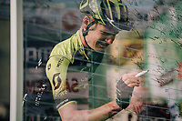 Jack Haig (AUS/Mitchelton-Scott) signing on at the race start in Bergamo<br /> <br /> 112th Il Lombardia 2018 (ITA)<br /> from Bergamo to Como: 241km