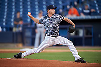 Tampa Yankees starting pitcher Kyle Haynes (63) delivers a pitch during the second game of a doubleheader against the Bradenton Marauders on April 13, 2017 at George M. Steinbrenner Field in Tampa, Florida.  Tampa defeated Bradenton 2-1.  (Mike Janes/Four Seam Images)