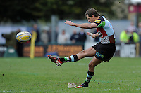 Nick Evans of Harlequins takes a penalty kick during the Aviva Premiership match between Harlequins and Leicester Tigers at The Twickenham Stoop on Saturday 21st April 2012 (Photo by Rob Munro)